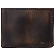 Buy Fossil Carson Traveller Leather Wallet, Black Online at johnlewis.com