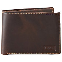 Buy Fossil Sam Traveller Leather Wallet, Brown Online at johnlewis.com