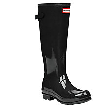 Buy Hunter Women's Original Adjustable Rubber Wellington Boots, Glossy Black Online at johnlewis.com