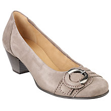 Buy Gabor Faro Buckle Detail Block Heel Court Shoes, Grey Online at johnlewis.com