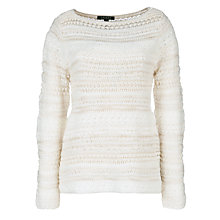 Buy Lauren by Ralph Lauren Textured Boat Neck Jumper, Cream Online at johnlewis.com