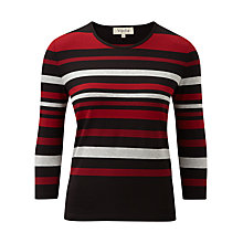 Buy Viyella Stripe Top, Black/Red/Ivory Online at johnlewis.com