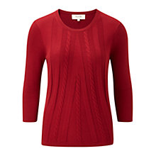 Buy Viyella Petite Cable Knit Jumper, Red Online at johnlewis.com