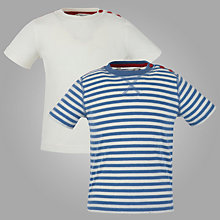 Buy John Lewis Short Sleeved T-Shirts, Pack of 2, Navy Stripe/White Online at johnlewis.com