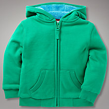 Buy John Lewis Fleece Lined Zip Through Hoodie, Green Online at johnlewis.com