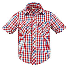 Buy John Lewis Short Sleeved Checked Shirt, Red/Navy Online at johnlewis.com