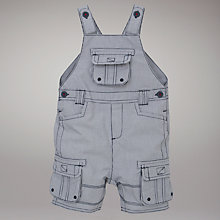 Buy John Lewis Checked Dungaree Shorts, Navy/White Online at johnlewis.com