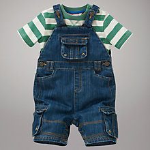 Buy John Lewis Dungaree Shorts and T-Shirt Set, Denim/Green Online at johnlewis.com