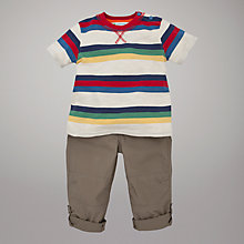 Buy John Lewis Striped T-Shirt and Trousers Set, Stone/Multi Online at johnlewis.com