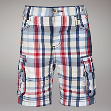 Buy John Lewis Checked Poplin Shorts, Navy/Red Online at johnlewis.com
