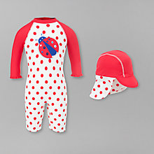 Buy John Lewis Ladybird SunPro Suit and Hat, Red Online at johnlewis.com