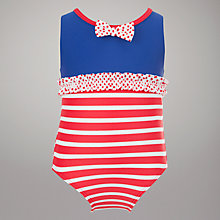 Buy John Lewis Striped Swimsuit, Red/Navy Online at johnlewis.com