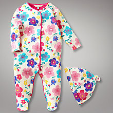 Buy John Lewis Baby Floral Jersey All In One, Bright Online at johnlewis.com