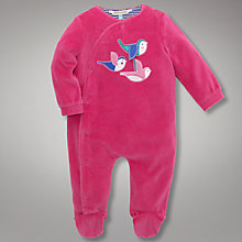 Buy John Lewis Baby Bird Applique Velour All In One, Pink Online at johnlewis.com