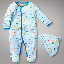 Buy John Lewis Baby Cloud Jersey All In One with Hat, Blue Online at johnlewis.com