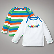 Buy John Lewis Baby Long Sleeved Stripe and Caterpillar Tops, Pack of 2, Multi Online at johnlewis.com