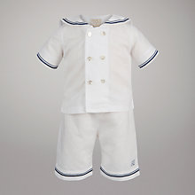 Buy Emile Et Rose Linen Sailor Top and Shorts Set with Hat, White Online at johnlewis.com