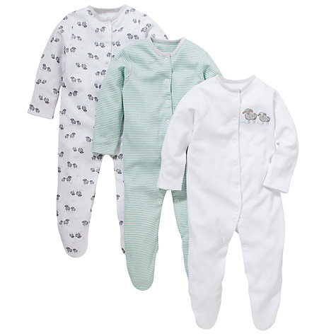 Buy John Lewis Baby Sheep Sleepsuits, Pack of 3 Online at johnlewis.com