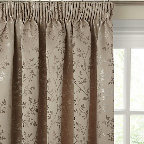Buy John Lewis Botanical Field Lined Pencil Pleat Curtains, Mocha Online at johnlewis.com