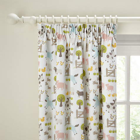 Buy John Lewis Farmyard Blackout Lined Pencil Pleat Curtains, Natural Multi Online at johnlewis.com
