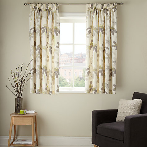 Buy John Lewis Passion Flower Lined Pencil Pleat Curtains, Natural Online at johnlewis.com