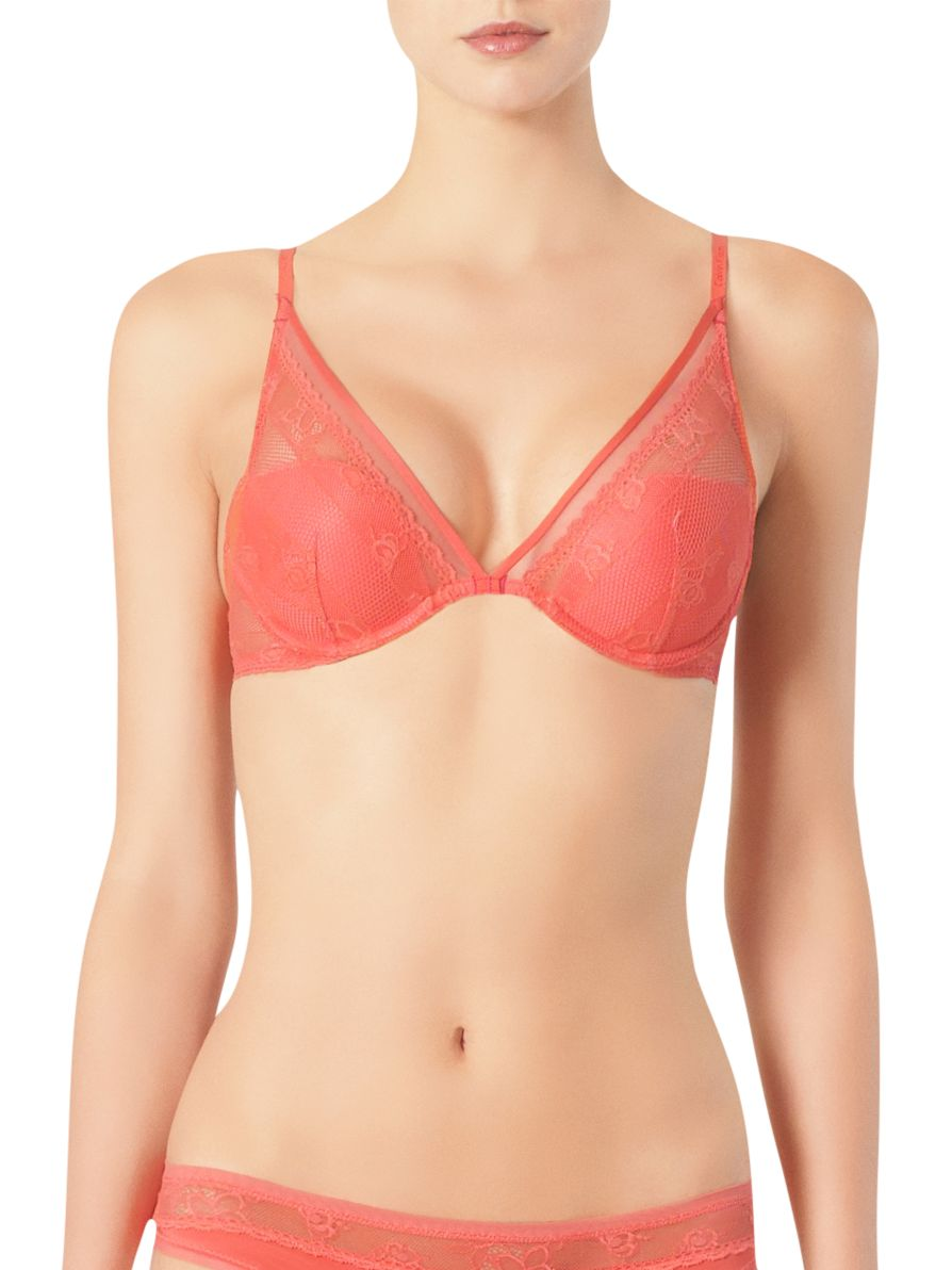 Calvin Klein Lace & Micro All Lace Plunge Bra, Sour Cherry