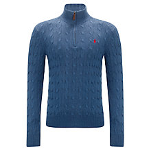 Buy Polo Ralph Lauren Silk Cable Knit Zip Neck Jumper Online at johnlewis.com