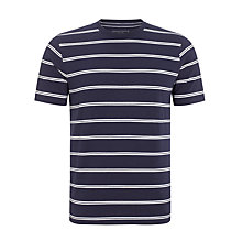 Buy John Lewis Organic Twin Stripe Crew Neck T-Shirt, Blue Online at johnlewis.com