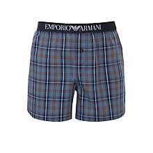 Buy Emporio Armani Tartan Check Woven Boxers Online at johnlewis.com