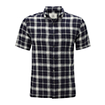 John Lewis Large Check Linen Short Sleeve Shirt , Blue