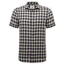Buy John Lewis Linen Large Gingham Check Short Sleeve Shirt, Navy Online at johnlewis.com