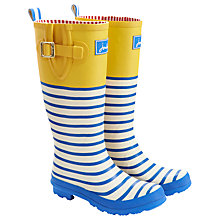 Buy Joules Stripe Print Wellington Boots, Blue/Yellow Online at johnlewis.com