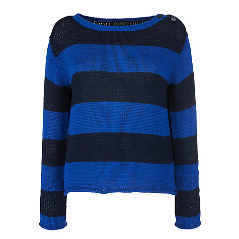Buy Lauren by Ralph Lauren Stripe Button Shoulder Jumper, Blue Online at johnlewis.com