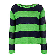 Buy Lauren by Ralph Lauren Stripe Button Shoulder Jumper, Green Online at johnlewis.com