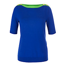 Buy Lauren by Ralph Lauren Short Sleeve Button Shoulder Jumper, Blue/Green Apple Online at johnlewis.com
