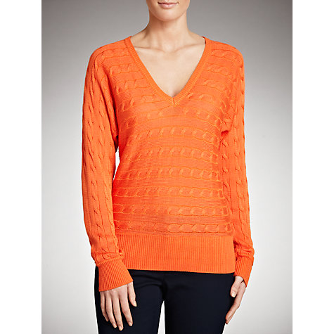 Buy Lauren by Ralph Lauren Dolman V-Neck Jumper, Coast Orange Online at johnlewis.com