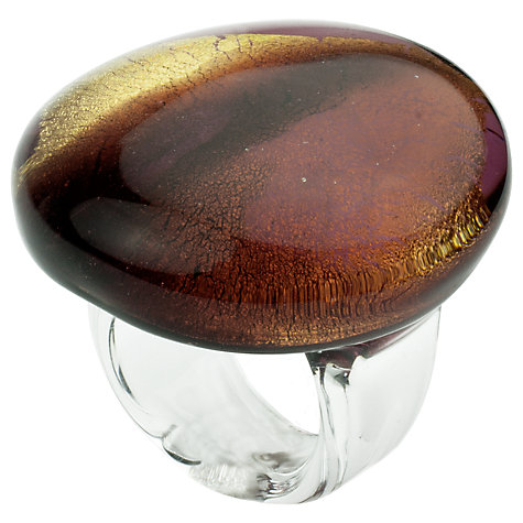 Buy Murano 1291 Gold Leaf Elements Murano Glass Ariel Amethyst Ring Online at johnlewis.com