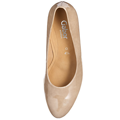Buy Gabor Beautiful Patent Leather Wide Fit Court Shoes, Taupe Online at johnlewis.com