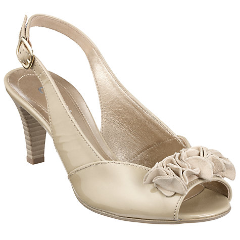 Buy Gabor Dazzling Flower Detail Patent Peep-Toe Slingback Sandals, Sahara Online at johnlewis.com