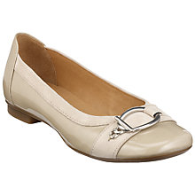 Buy Gabor Virginia Metal Ring Patent Leather Ballerina Pumps, Beige Online at johnlewis.com
