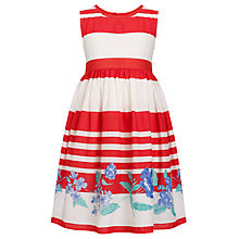 Buy John Lewis Girl Border Print Stripe Dress, Red/White Online at johnlewis.com