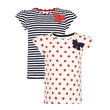 Buy John Lewis Girl Spot and Stripe T-Shirts, Pack of 2, Navy/Red Online at johnlewis.com