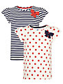 John Lewis Girl Spot and Stripe T-Shirts, Pack of 2, Navy/Red