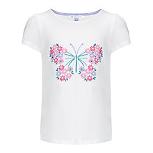 Buy John Lewis Girl Butterfly T-Shirt, White Online at johnlewis.com