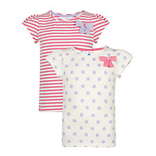 Buy John Lewis Girl Spot/Stripe T-Shirts, Pack of 2, Purple/Pink Online at johnlewis.com
