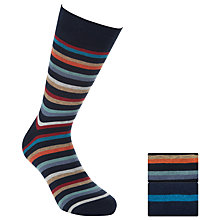 Buy John Lewis Striped Egyptian Cotton Socks, Pack of 2, Navy Online at johnlewis.com