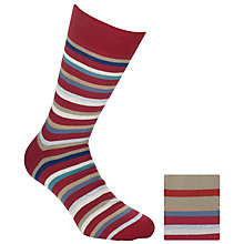 Buy John Lewis Stripe Socks, Pack of 2, Red Online at johnlewis.com