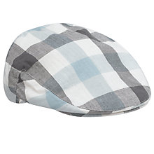 Buy John Lewis Gingham Flat Cap, Blue/stone Online at johnlewis.com
