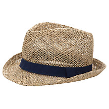 Buy John Lewis Navy Ribbon Trilby, Stone Online at johnlewis.com