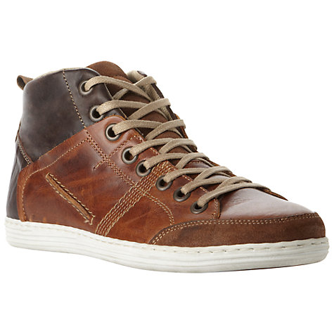 Buy Dune Sacramento Leather Hi-Top Trainers, Tan Online at johnlewis.com